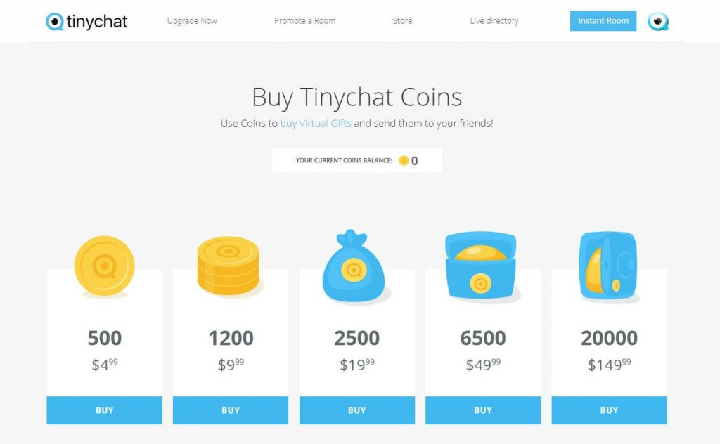 Tinychat-Buy Coins